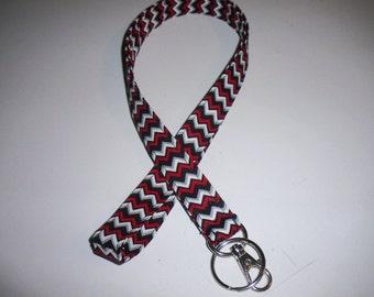 Lanyard ID Badge Holder - Red Black White Grey Zig Zag Chevron