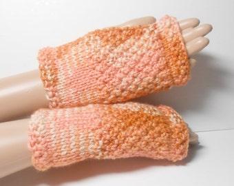 Knit Fingerless Glove, Hand Warmer, Wool Bamboo in Variegated Orange Wristlet, Wrist Warmer, Orange Variegated Glove