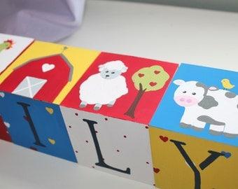 Personalized Baby Name Blocks- Jumbo Size- FARM ANIMALS Theme