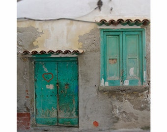 Italy Travel Photography Love Heart Rustic Village Door Teal Turquoise Tangerine Terracotta Emerald-Love Walks In
