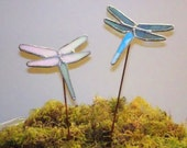 Dragonflies Stained Glass Garden Art Stakes