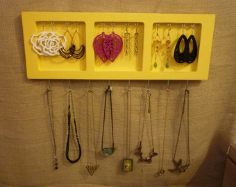 Upcycled Jewelry Organizing Display (Yellow 3 Section Tray)