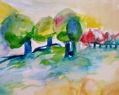 Tree Amigos- Original Watercolor Painting- 11x15- Bright, Colorful Landscape