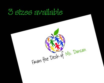 Personalized Teacher Children Apple Notepad ~ Teacher Gift ~ 3 sizes