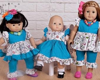 Pants outfit ruffle sleeve pattern - Mini Angel PDF pattern -15 and 18 doll