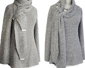 SALE - Bouclé Belt Wrap Scarf Sweater