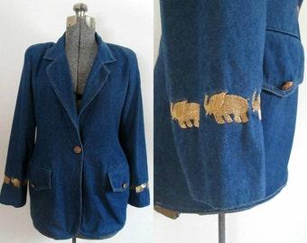 Embroidered Denim Blazer Jacket Gold Elephants Vintage 1980s