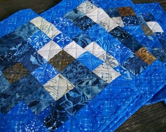 Winter Table Runner Blue Snow Day Batiks Quilted Winter Quiltsy Handmade FREE U.S. Shipping