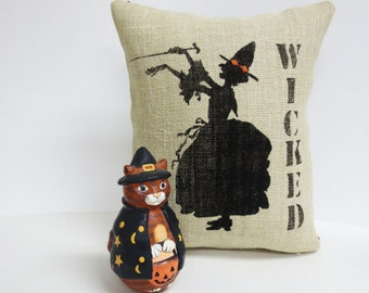 Halloween Witch Screen Print Pillow - Wicked Witch Burlap Pillow - Decorative Throw Pillow Cushion Includes Insert