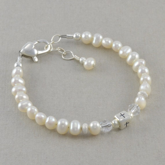 Baby Gifts Jewellers : Baby baptism bracelet christening pearl by sixsistersbeadworks