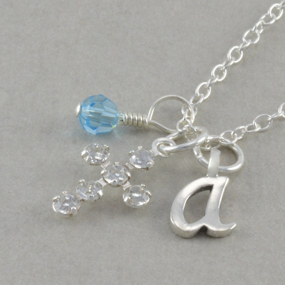 Girls Cross Necklace, Sterling Silver, Baby Necklaces, baptism, christening gift, personalized, goddaughter, birthstone, initial, ARIANNA