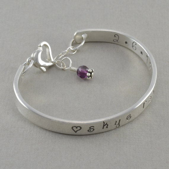 baby cuff bangle bracelet hand stamped by sixsistersbeadworks
