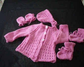 Hand knit baby girls pink sweater set