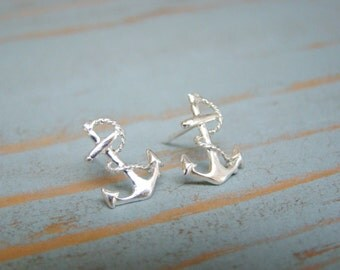Anchor Stud Earrings, Sterling Silver Studs, Nautical Jewelry
