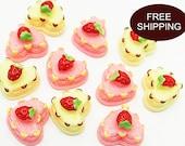 Heart Spong Cake Strawberry  6003 3270 Resin Cabochon Decoden 12pcs
