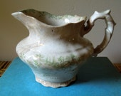 vintage green toile shabby pitcher FIVE DOLLAR SALE