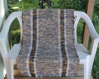 Brown and Amber Hand Woven Rag Rug