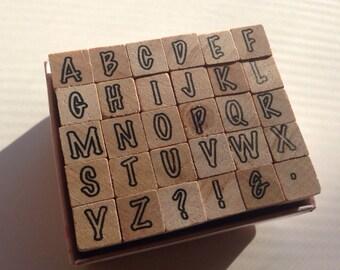 CIJ SALE Mini Alphabet Wood Mounted 30pc Stamp Set