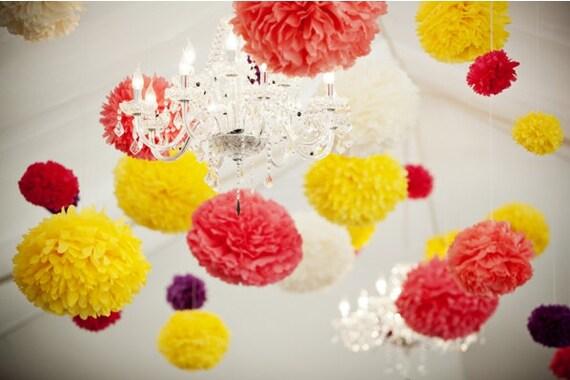 "2 x 19""  paper poms Wedding party - wedding decoration - wedding flower -bridal - baby shower - birthday party- photoshoot"
