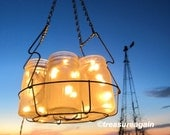 Frosted Mason Jar Chandelier Lighting 6 Antique Ball Pint Jars Vintage Canning Basket, Enamel Canner, Weddings, Home Decor, Original Design