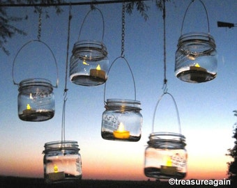 8 DIY Wide Mason Jar Lanterns, Wedding Lights Ball Mason Jar Candle Lanterns Hangers Only - No Jars