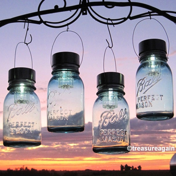 Hanging mason jar lights 4 ball mason jar solar by for Hanging lights made from mason jars
