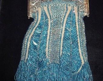 1918-1920s Era Turquoise Iridescent Beaded Purse  item 112  Purses