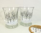 Coffee Mugs Hand Painted Coffee Mugs Cups Winter Snow Scene Black White Set of 2