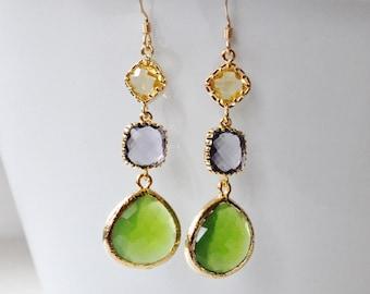 Olive Green Purple Tanzanite Yellow Crystal Glass Gold Filled Dangle Earrings,Bridesmaids Earrings, Summer Fall Wedding Bridal Jewelry,