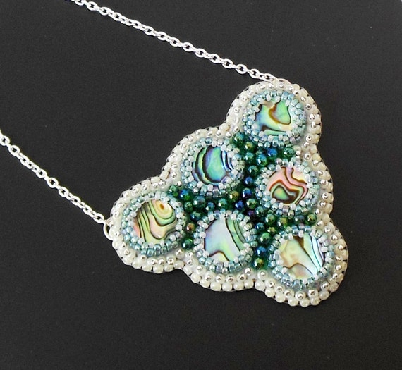 Embroidery beads necklace Natural PAUA Abalone Shell