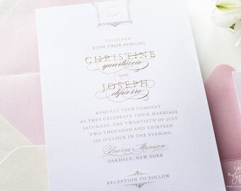 INVITATION SAMPLE Gold Engraved with Pink Letterpress Wedding Invitation Sample Set - Bourne Glam Design - by Sincerely, Jackie