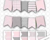 Pink and Gray Banner / girl baby shower or birthday party / instant download, pink pennant, pink grey party decor, pink gray baby shower