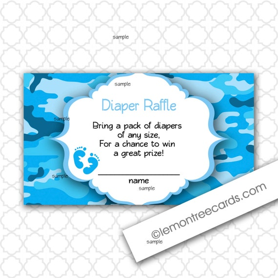 Blue Camo Diaper Raffle tickets / boy baby shower / Print your own ...