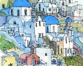 Santorini Oia 2 Greece art print from an original watercolor painting