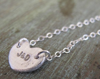 Small Personalized Initial Heart, Fine Silver, Couple's Initials, Bride and Groom
