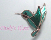 3D Hummingbird Teal w/red throat Stained Glass Silver  Finish