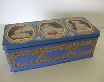 Oblong Tin with Famous Pictures of Childhood by Sir Joshua Reynolds PRA,  Blue Box with Gold Designs,