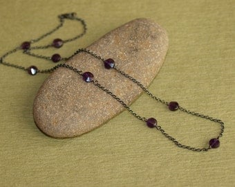 Oxidized Sterling Silver Amethyst Coin Necklace