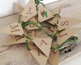 Happy Christmas Retro Deer Mini Bunting Kit