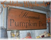 Homemade Pumpkin Pies, Primitive, Folkart, wall sign