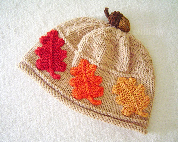 Knitting Pattern Oak Leaf : Hat Knitting Pattern Fall Leaves Hat Pattern the SCARLET