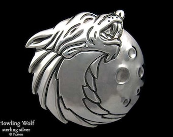 Howling Wolf Belt Buckle Sterling Silver or Yellow Brass with Moon
