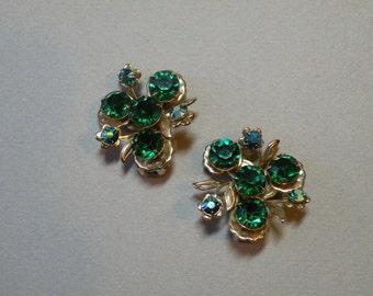 Vintage Emerald Crystal Flower Earrings