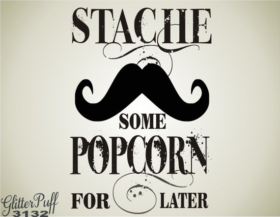 Wedding Popcorn Rubber Stamp - Stache Some Popcorn - Mustache Popcorn Treat Bag -  STOCK Design (g3132)