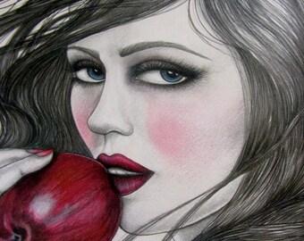 Snow White Original Mixed Media Framed Ready to Hang Canvas Print