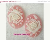 90-00-Ca - 4pcs (18 X 25mm) Pretty Oval Rose Cameo -Cream on Pink.