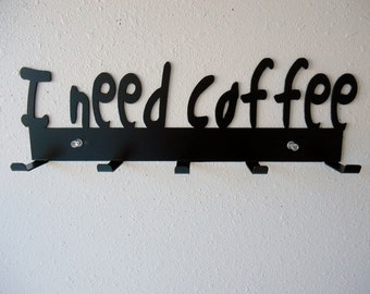 Coffee Rack- Metal Wall Hanging- Home Decor - Organizer