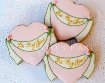 Be My Love Banner Heart Cookie (1 Dozen)