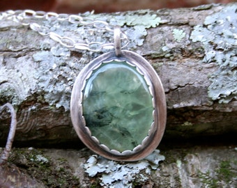 Prehnite Epidote Large Cabochon Sterling Silver Oxidized Chain Necklace