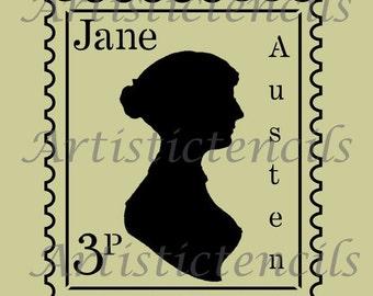 STENCIL Jane Austen Postage Stamp 10 x 8.8